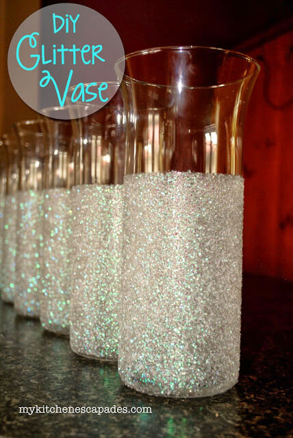 Glitter Vases For Wedding Or Christmas Decorations Diy Vase