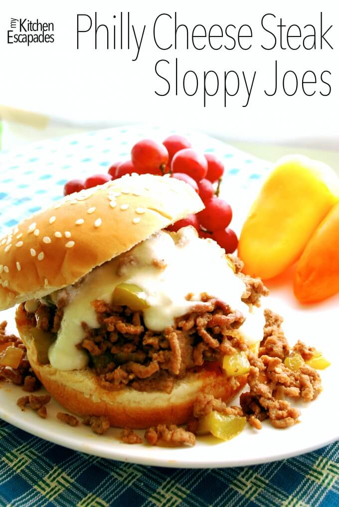 Philly Cheese Steak Sloppy Joes with Provolone Cheese Sauce
