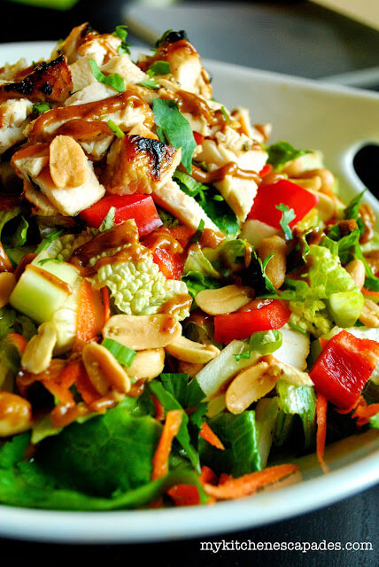 Thai Chicken Salad with Spicy Thai Peanut Sauce