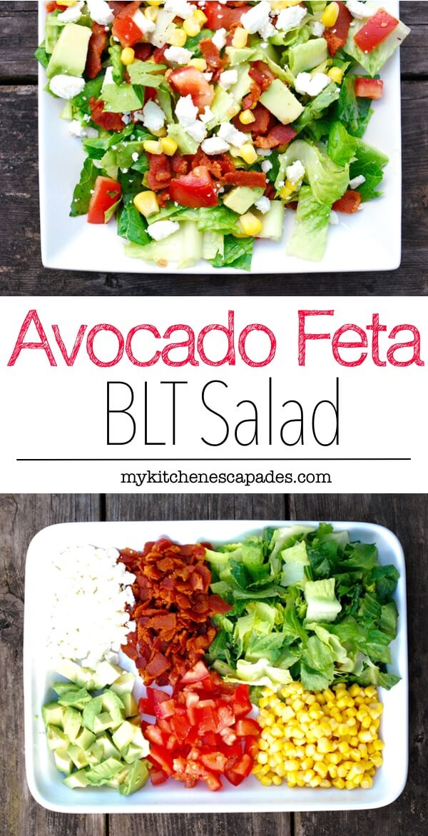 Take a BLT salad to a whole new level by adding some avocado, feta cheese, corn and a fresh homemade dressing. Made with thick cut bacon. Best recipe!