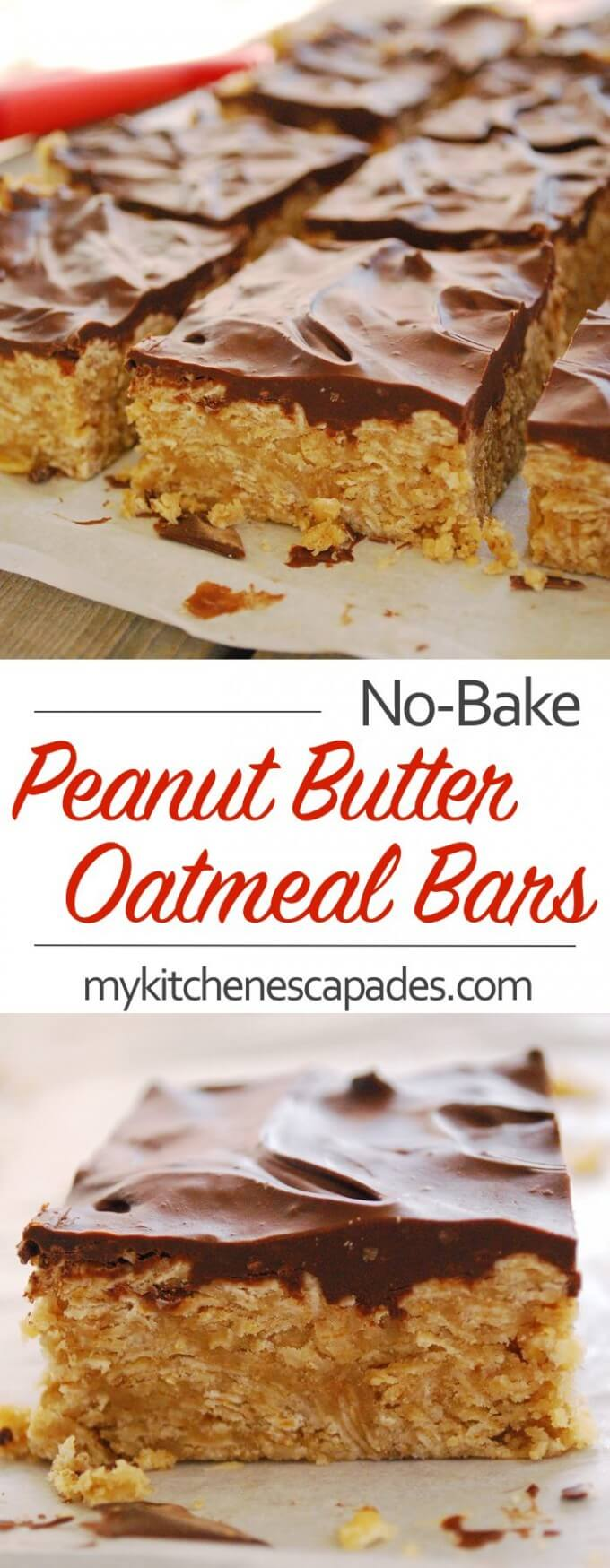 No Bake Peanut Butter Oatmeal Bars - a simple recipe that is topped with melted chocolate. Ready in minutes