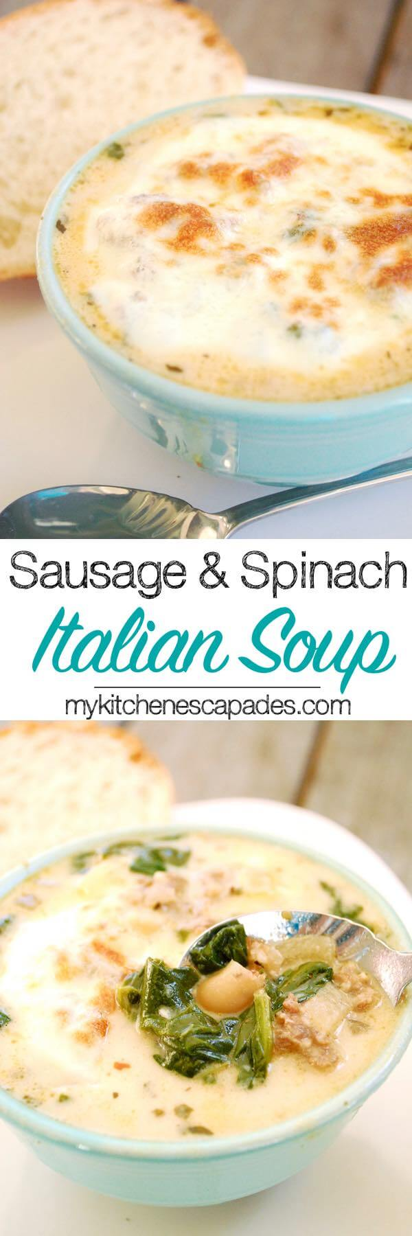 Sausage & Spinach Italian Soup