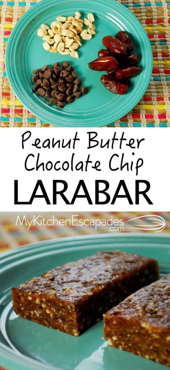 Peanut Butter Chocolate Chip Larabar - make your own at home with my recipe! So much cheaper