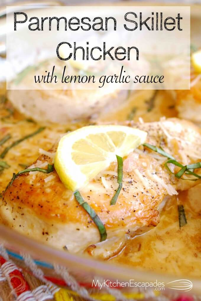 Parmesan Skillet Chicken with Lemon Garlic Sauce - this recipe is so easy but tastes fancy enough for a dinner party. Low carb and packed with flavor!