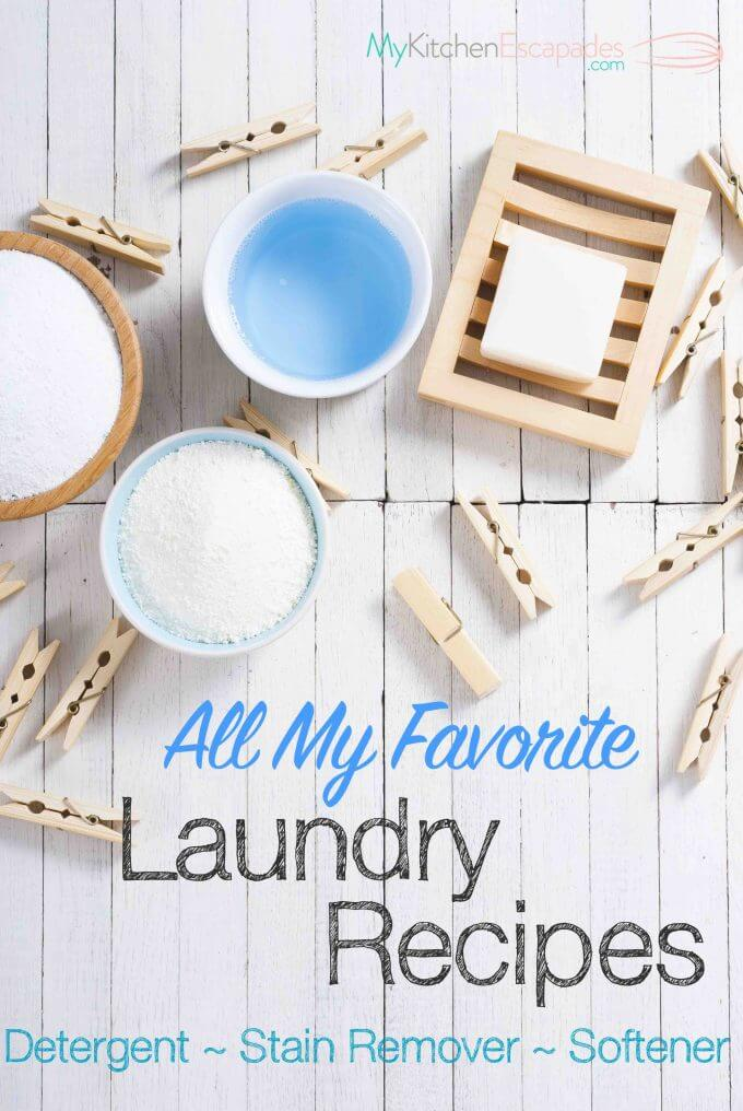 The best laundry recipes for making homemade detergent, stain remover and fabric softener. All recipes are HE machine safe and save a ton of money!