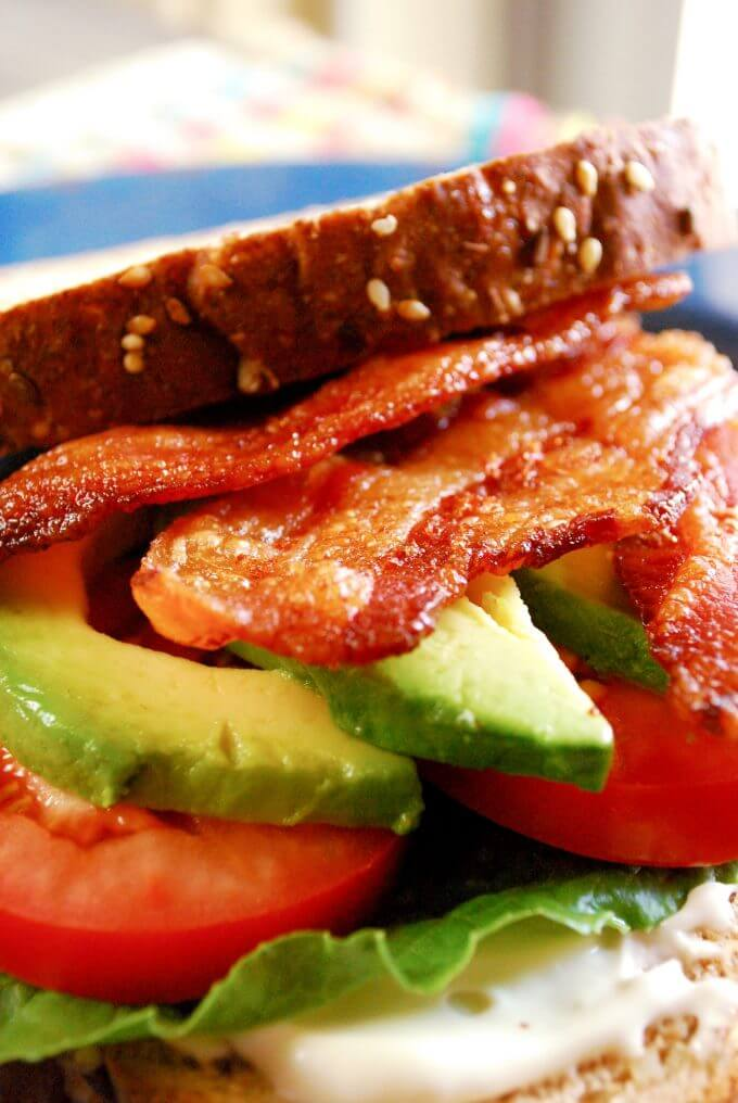 The perfect BLT and A sandwich using bacon baked in the oven! Turns out perfect and flat every time