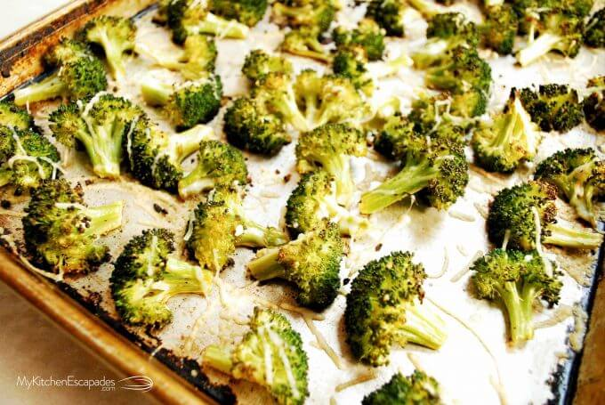 Sheet pan full of roasted parmesan broccoli