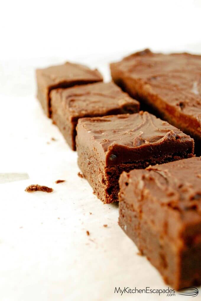 four frosted brownies