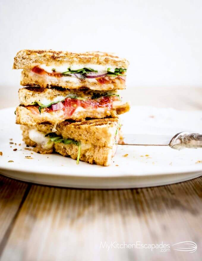 plate with a vegetarian grilled panini
