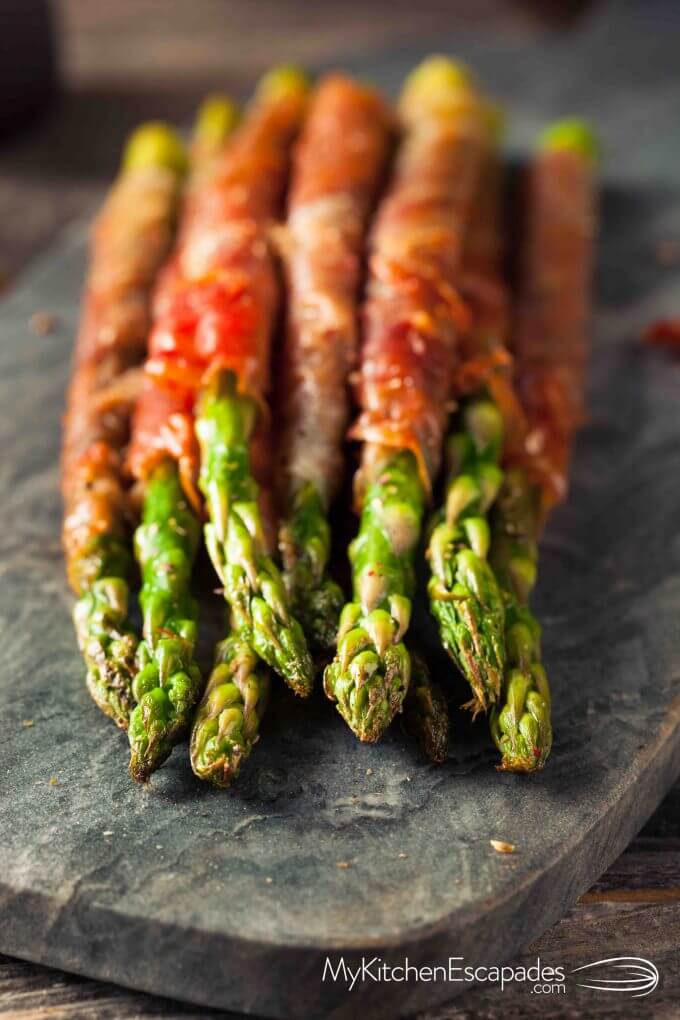 Platter of asparagus wrapped in Prosciutto