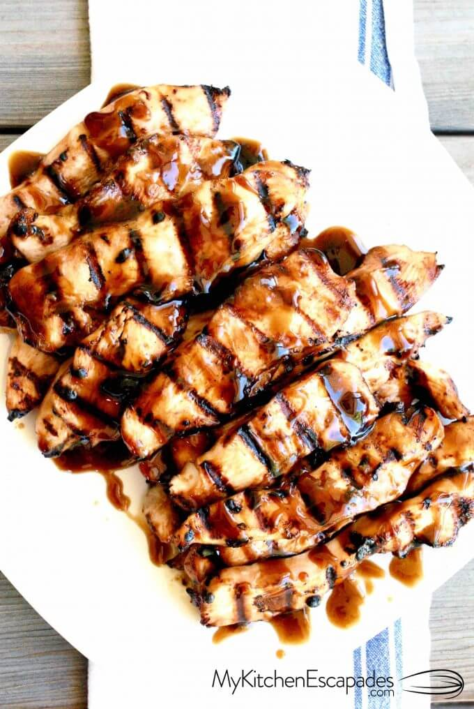 Plate of grilled teriyaki chicken strips