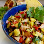 bowl of pineapple pear salsa