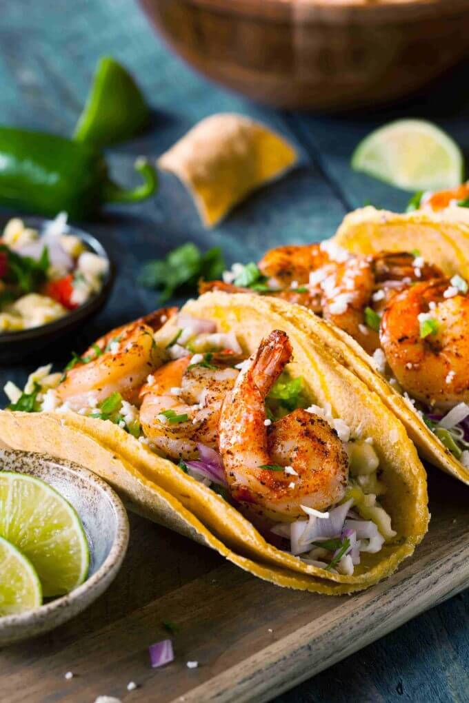 Shrimp tacos in corn tortillas