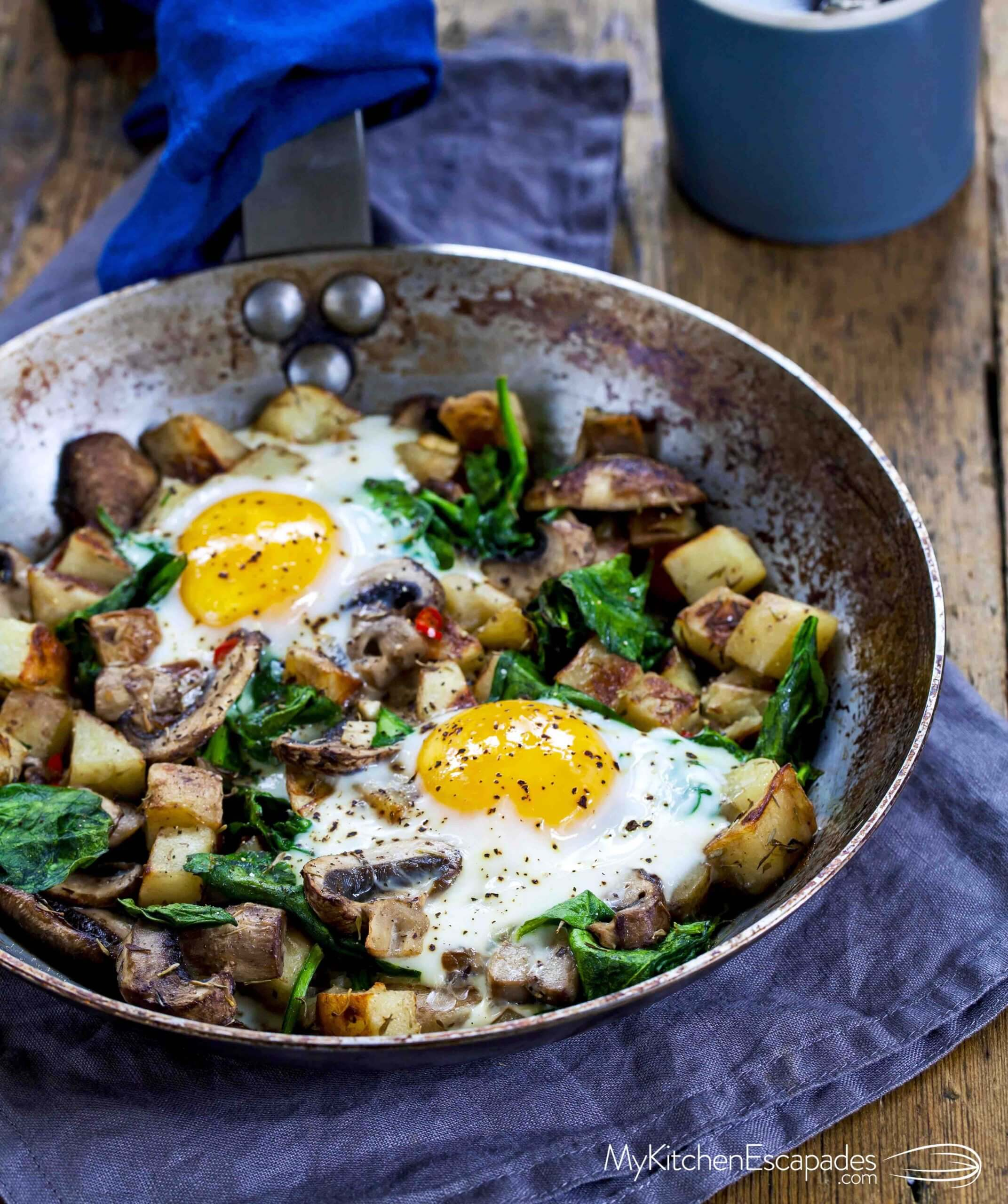 Breakfast skillet with eggs and potatoes