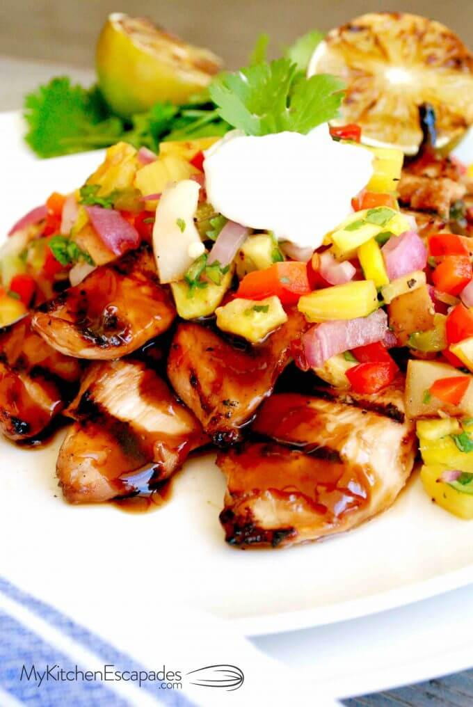 Bowl of Hawaiian Chicken Teriyaki with grilled pineapple salsa