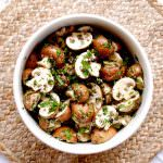 Bowl of marinated mushrooms