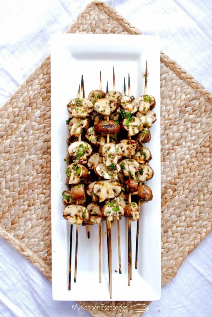 Platter of Grilled Mushroom Skewers