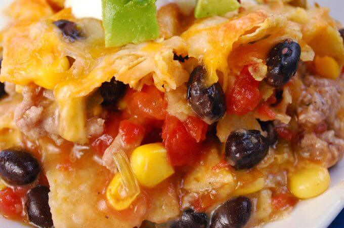 Easy Beef Nacho Casserole with Green Chili Sauce