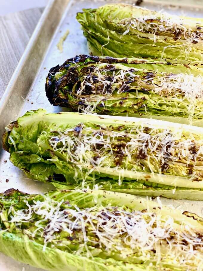 Grilled Romaine Lettuce with Parmesan Cheese | Grilled Hearts of Romaine | VIDEO