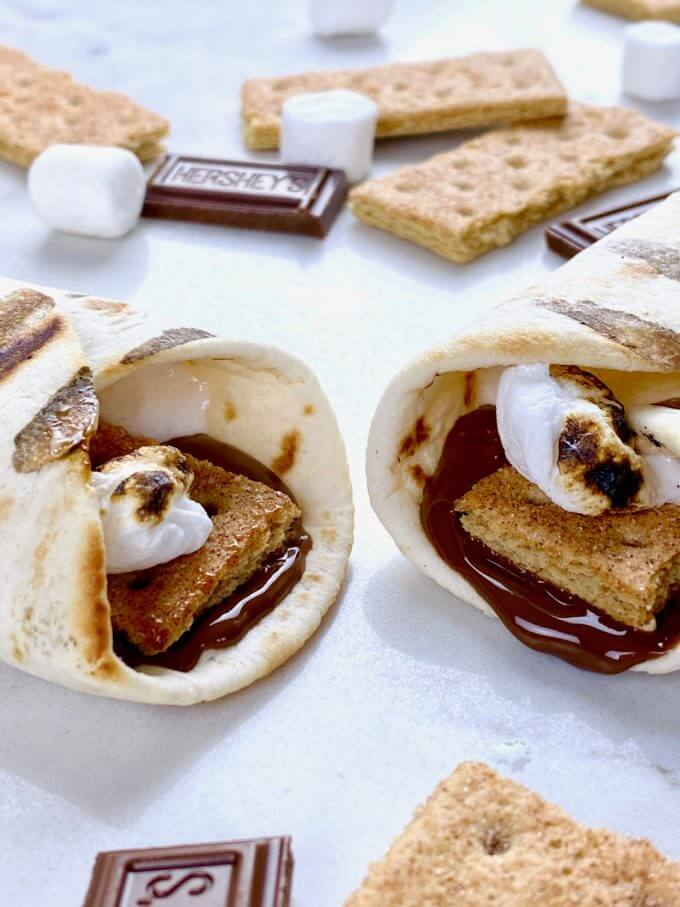 Two grilled tortilla smores