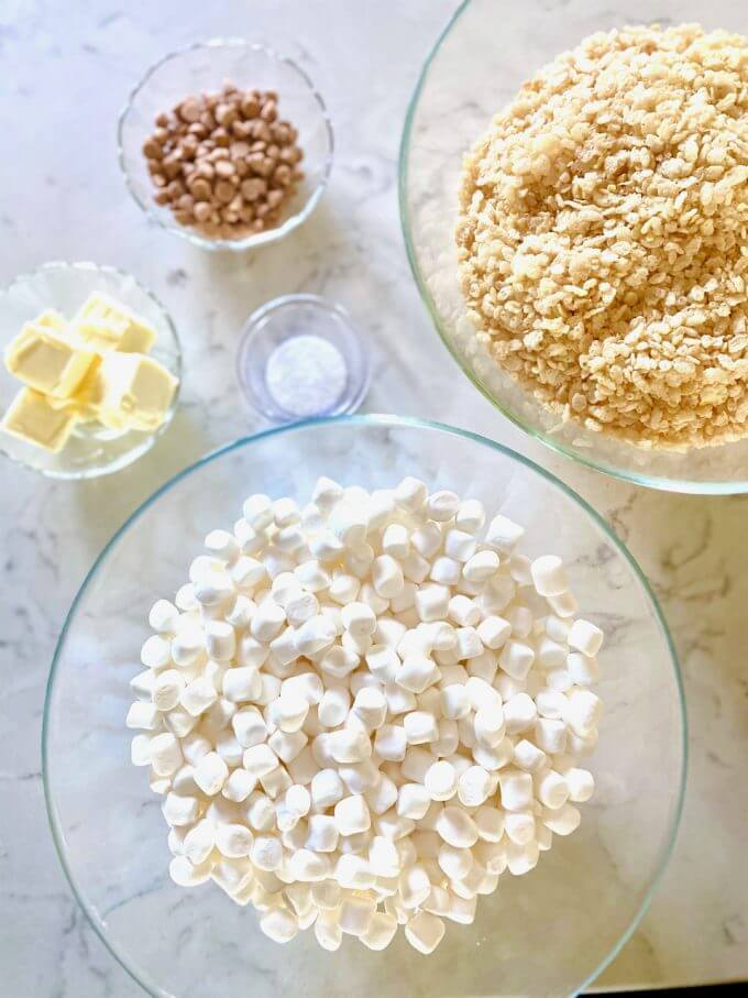 bowls of marshmallows, rice cereal, butter, butterscotch chips, and salt