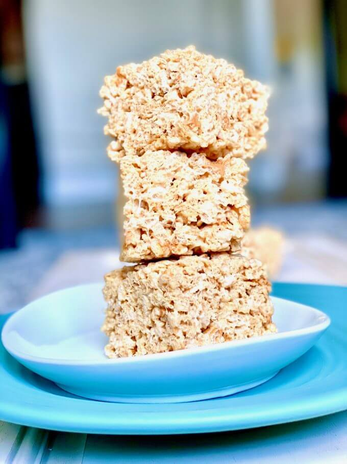 stack of butterscotch rice krispies treats