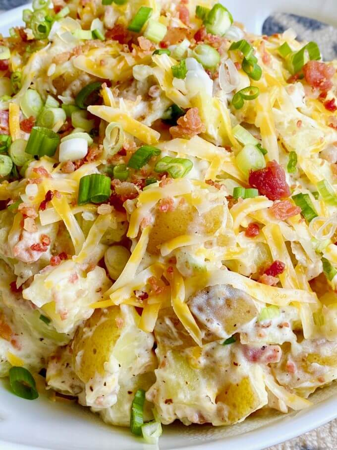 close up of loaded baked potato salad