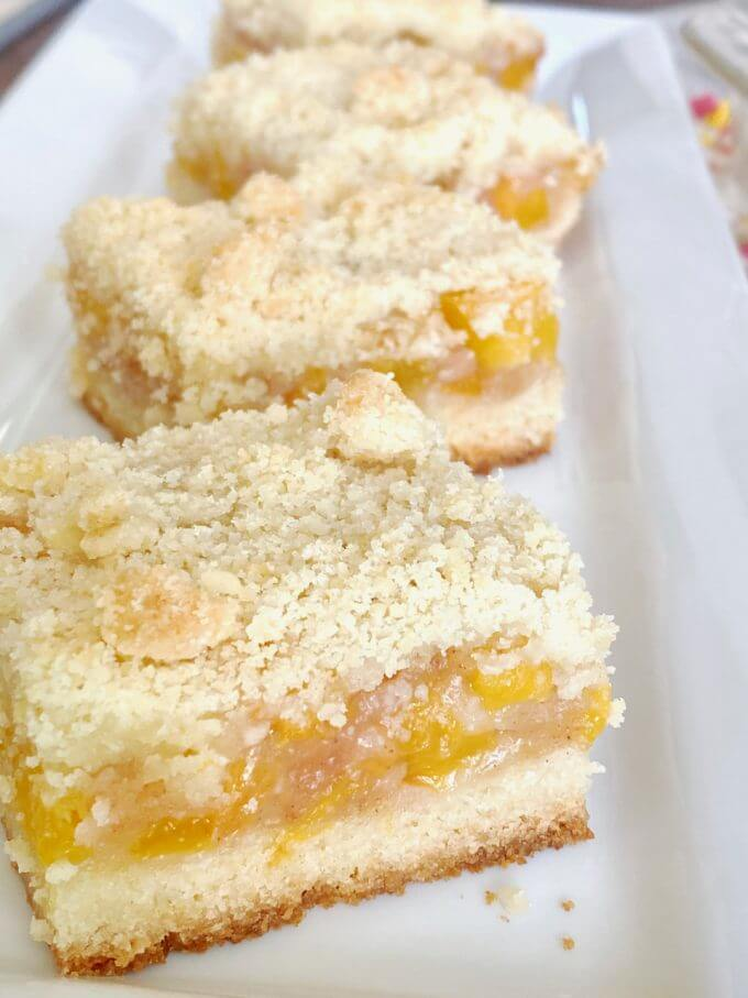 Up close shot of peach shortbread bars