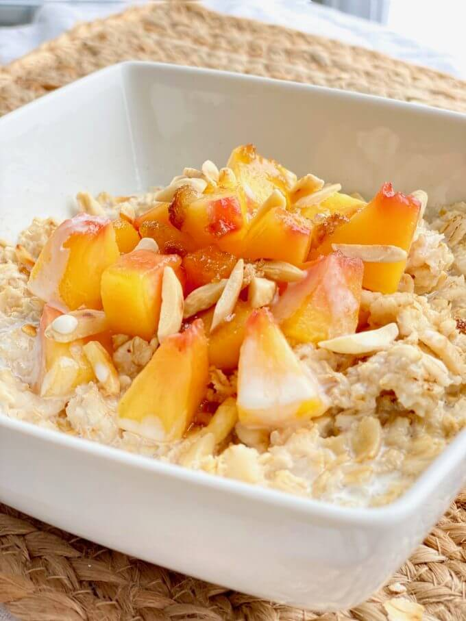 Up close picture of homemade peach oatmeal