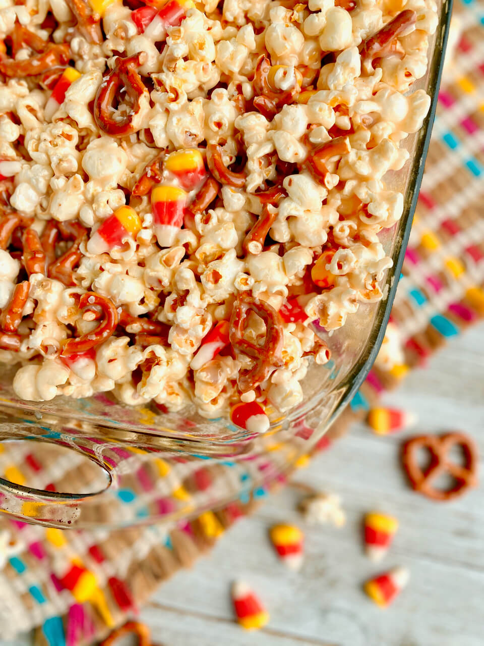 glass pan with caramel corn bars