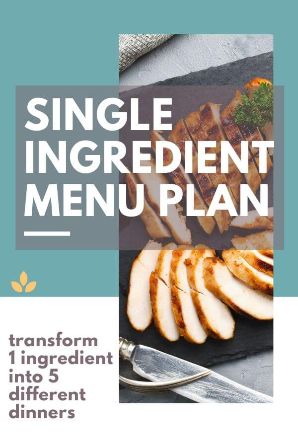 Single ingredient menu plan