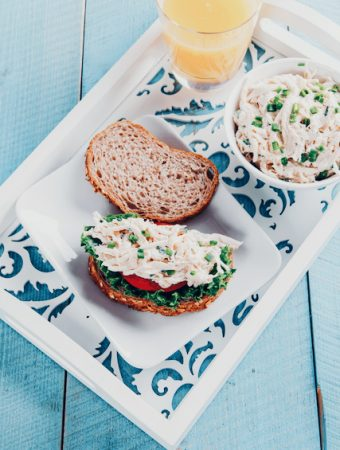 open faced roasted chicken salad sandwich