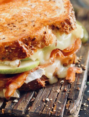 Grilled Cheese with Brie, Pear, Bacon, & Caramelized Onions