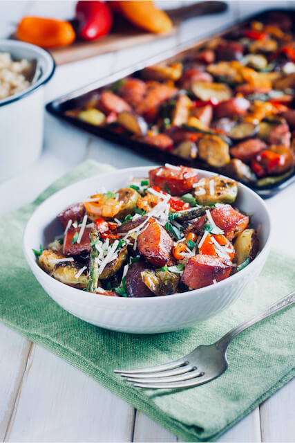 bowl of sausage, potatoes, brussel sprouts